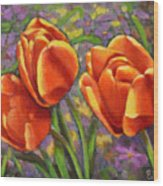 Tulips In The Sun Wood Print