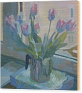 Tulips On A Window  Wood Print