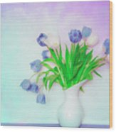 Tulips In Winter Wood Print