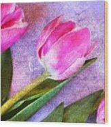 Tulips Meets Texture Wood Print