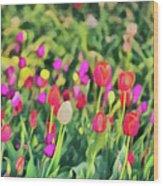 Tulips. Monet Style Digital Painting. Wood Print