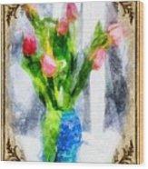 Tulips On A Half Shelf Wood Print