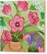 Tulips On A Spring Day Wood Print