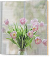 Tulips On The Window Wood Print
