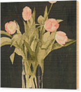 Tulips On Velvet Wood Print