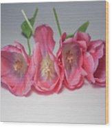 Tulips On White Wood Print