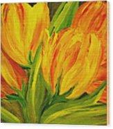 Tulips Parrot Yellow Orange Wood Print