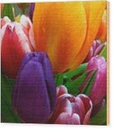 Tulips Smiling Wood Print