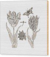 Tulips Vintage Botanical Wood Print