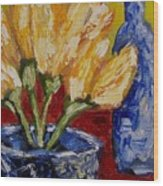 Tulips With Blue Bottle Wood Print