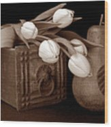 Tulips With Pear I Wood Print