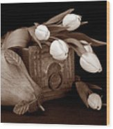 Tulips With Pear II Wood Print