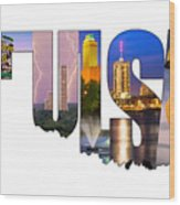 Tulsa Oklahoma Collage Typography State Shape Series Poster By
