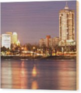 Tulsa Oklahoma Lights On The River Wood Print