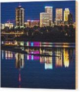 Tulsa Skyline At Twilight Wood Print by Tamyra Ayles