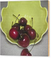 Tumbling Cherries Wood Print
