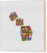 Tumbling Cubes Wood Print