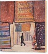 Tunisian Rug Vendor Wood Print