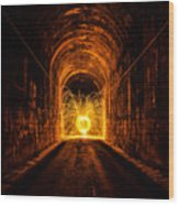 Tunnel Sparks Wood Print