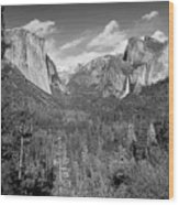 Tunnel View Bw Wood Print