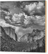 Tunnel View In Black And White Wood Print