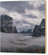 Tunnel View Storm Clouds Wood Print