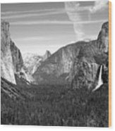 Tunnel View Yosemite B And W Wood Print