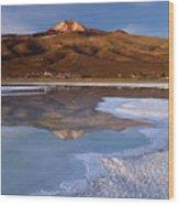 Tunupa Volcano Reflected In Salar De Uyuni At Twilight Bolivia Wood Print