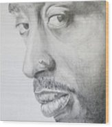 Tupac Shakur Wood Print by Stephen Sookoo