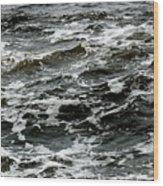 Turbulent Water Near The Shore Wood Print