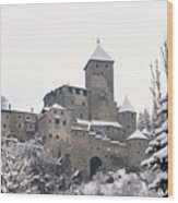 Tures Castle In The Snow Wood Print