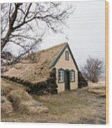 Turf Church At Hof In Iceland Wood Print