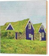 Turf Huts In Skaftafell Wood Print