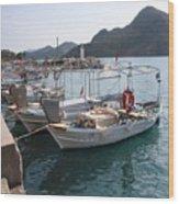 Turkish Fishing Boats Moored At Bozburun Wood Print