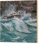 Turmoil In Blue Wood Print