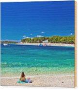 Turquoise Adriatic Beach In Primosten Wood Print