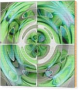 Turquoise And Green Abstract Collage Wood Print