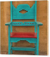 Turquoise And Red Chair Wood Print