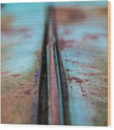Turquoise And Rust Abstract Wood Print