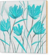 Turquoise Bloom Wood Print
