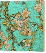Turquoise Blossom Wood Print