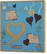 Turquoise Boutique Hearts Wood Print