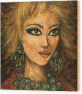 Turquoise Eyes Wood Print