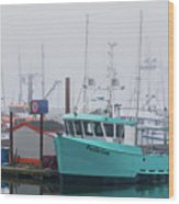 Turquoise Fishing Boat Wood Print