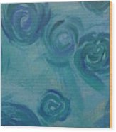 Turquoise Flora Wood Print