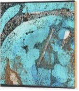 Turquoise Gold Pond 1 Wood Print