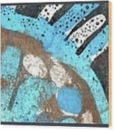 Turquoise Gold Pond 2 Wood Print