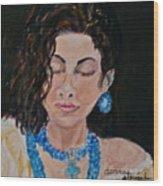 Turquoise Lady 1 Wood Print