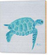 Turquoise Marine Turtle Wood Print