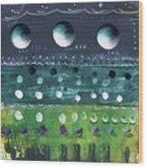 Turquoise Moons Wood Print